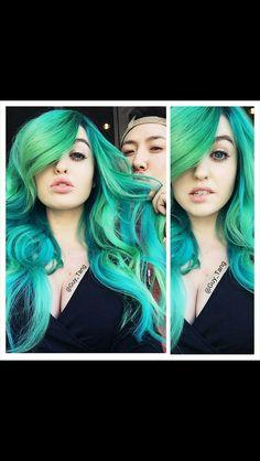Green and blue bayalage