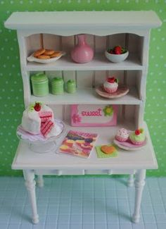 Its the Little Things: {Miniature Kitchen Hutch Filled With Pink And Green Goodies...}