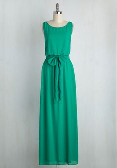 You're Flowing Places Dress in Jade. Some see soirees as mere opportunities to look pretty, but you don this bright green maxi dress with networking in mind! #green #wedding #bridesmaid #modcloth