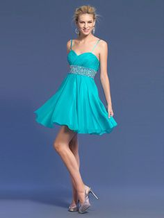 A-line Spaghetti Straps Chiffon Short/Mini Sweet 16 Dress With Beading at Msdressy