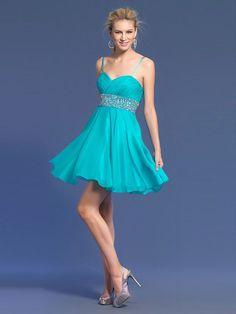 A-line Spaghetti Straps Chiffon Short/Mini Sweet 16 Dress With Beading at Msdressy
