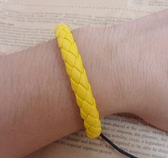 Shoply.com -Yellow woven leather cord bracelet jewelry. Only $3.00