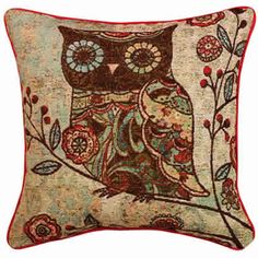 Owl Tapestry Pillow #owl #pillow #tapestry