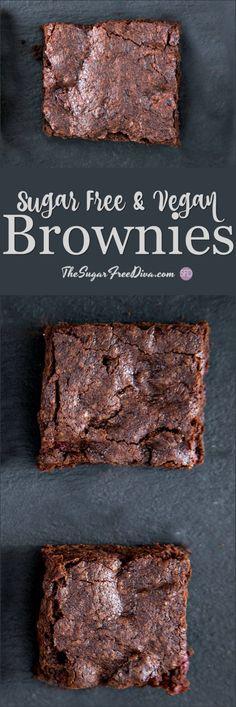 The recipe for Sugar Free and Vegan Brownies that actually tastes amazing too! #sugarfree #vegan #brownies #recipe #yummy #best via @thesugarfreediva