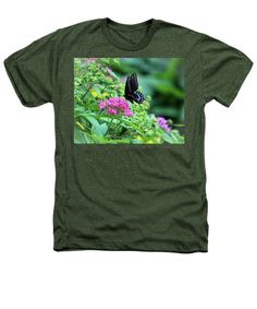 Black Swallowtail Heathers T-Shirt featuring the photograph Butterfly On Pentas Flower by Cynthia Guinn