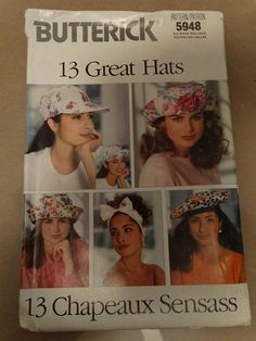1992 Butterick Hat Pattern 5948 13 Chapeauz by TheIDconnection