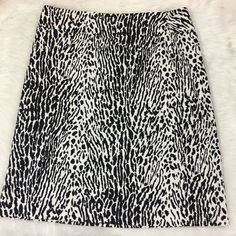 Talbots Size 16 Skirt Black & White Leopard Animal Print A-Line Cotton Unlined   | eBay