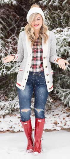 White Beanie / Grey Cardigan / Ripped Skinny Jeans / Red Boots / Checked Shirt