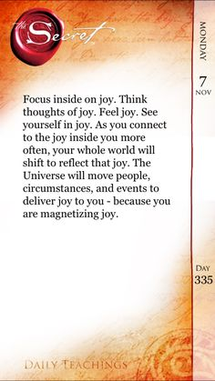 The Secret - Day 335 'Focus internally on joy'