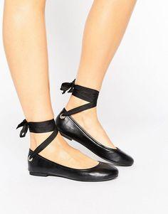 f77c53b583e3 Miss Selfridge Tie Up Ballet Pump - Black