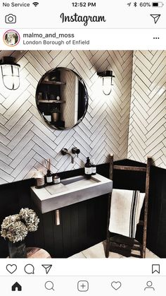 Loving these tiles and concrete style basin … – All Pictures Small Toilet Room, Guest Toilet, Downstairs Toilet, Herringbone Tile, Toilet Design, Bath Design, Industrial Bathroom, Industrial Interiors, Bathroom Inspiration