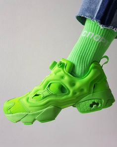 "a4f7e335d3ae VETEMENTS on Instagram  "" VETEMENTSxREEBOK FLUO GREEN INSTAPUMP FURY  www.mrporter.com  mrporterlive"""