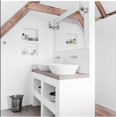 White and timber accents. beachy Bathroom