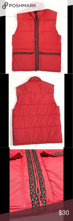 660e080540e Vintage 70 s Puffer Vest Red Green Nordic Ribbon Vintage 70 s Size  S  FROSTLINE kit Puffer