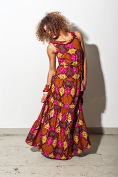 Long colourful dress with African print from our Noh Nee Benin collection