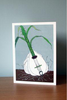 Vegetable Instrument Card. Garlic. Mandolin. Food Illustration.