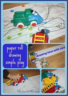 Paper Roll Drawing with Cars Simple Play.  We have these cars!  And somewhere we have a roll of paper, just need to find it.  I can imagine the boys doing this or hours.