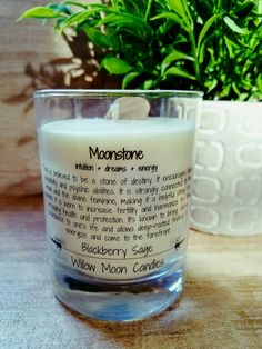 Moonstone candle meditation candle third eye by willowmooncandle