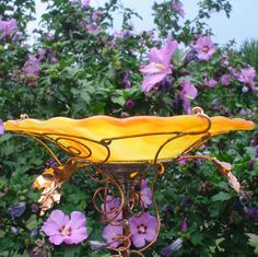 BIRDBATH  Yellow Orange stained glass copper by GloriasGlassGarden, $62.00