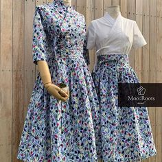 이미지: 사람 1명 이상, 사람들이 서 있음 Waist Skirt, High Waisted Skirt, Types Of Dresses, Diy Clothes, Fashion Outfits, Costumes, Couples, Floral, Skirts