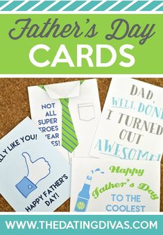 Free printable Fathers Day cards from The Dating Divas! LOVE the DIY Fathers Day tie card. They can be printed from home and there's even a matching printable envelope! Free Fathers Day Cards, Fathers Day Presents, Happy Fathers Day, Diy Father's Day Tie, Father's Day Diy, Diy Father's Day Cards, Men's Cards, Date Night Ideas For Married Couples, Great Father's Day Gifts