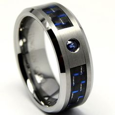 8MM Tungsten Carbide Ring BLUE SAPPHIRE .050 Carat & BLACK/ BLUE Carbon Fiber Inlay Wedding Band Size 13: Jewelry: Amazon.com