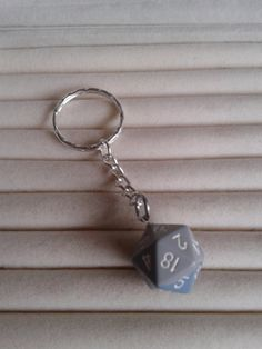 Grey & blue  blended D20  Dice keychain keyring by simplyproducts