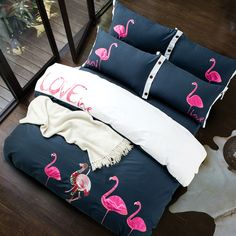 2017 4pcs Lovely Red-crowned crane bedding set Bed Linen Embroidery bedding sheet duvet cover pillowcases Queen King size #Affiliate