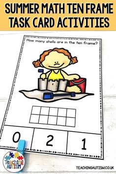 Are you looking for fun and engaging summer math activities to work on counting, number recognition and ten frame skills? If so, these task cards are perfect for you. 1st Grade Activities, Fun Summer Activities, Kindergarten Lesson Plans, Teaching Kindergarten, Autism Teaching, Autism Classroom, Number Recognition, Number Bonds, Division Math Games