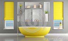 Contemporary bathroom with yellow bathtub by Paolo De Santis, via Dreamstime