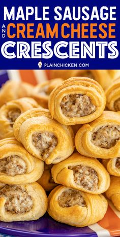Maple Sausage and Cream Cheese Crescents - Plain Chicken Breakfast Dishes, Breakfast Recipes, Breakfast Appetizers, Breakfast Items, Brunch Recipes, Appetizer Recipes, Appetizer Ideas, Finger Food Appetizers, Sausage Appetizers
