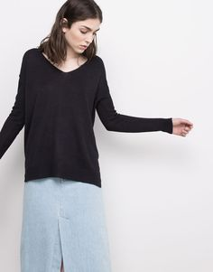 :VISIBLE SEAM V-NECK SWEATER