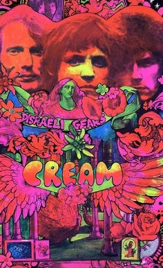 Poster by Martin Sharp, ca Disraeli Gears for the second album by the English rock band Cream printed in DayGlo fluorescent inks. Psychedelic Rock, Psychedelic Posters, Rock And Roll, Rock Posters, Band Posters, Music Posters, Vintage Concert Posters, Vintage Posters, Retro Posters