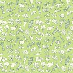 Outline hand drawn vegetable pattern (flat style, thin  line) royalty-free stock…