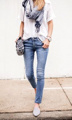 Cute update on flats, jeans, slouchy blouse and scarf.