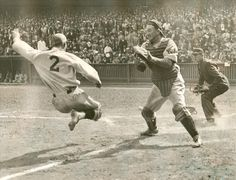 September 1932 at the Baker Bowl in Philadelphia: Dick Bartell of the Phillies is tagged out at home by Cubs catcher Gabby Hartnett while trying to score on an inside the park home run. The Phillies would win in the game of a doubleheader. Baseball Equipment, Baseball Photos, Sports Baseball, Baseball Jerseys, Nationals Baseball, Sports Art, Baseball Field, Baseball Tickets, Baseball Scores