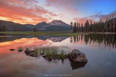 South Sister from Sparks Lake · Deschutes National Forest · Bend · Oregon · USA  South Sister takes center stage in a beautiful sunset finale to a long mid-summer spell away from home. After an excruciatingly long drought with picturesque mountain sunsets, everything came together just enough to hopefully signal the end of my terrible cloudless-sky mojo. Aside from the occasional canoe moseying through the scene and (mostly) idle threats from the buzzing mosquitos, it was as peaceful a…