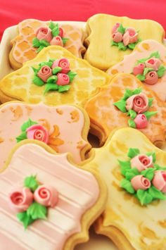 Marie Antoinette Rosebud Frame Cookies - 1 Dozen Wedding or Birthday Favor Cookies, on Etsy, $49.00