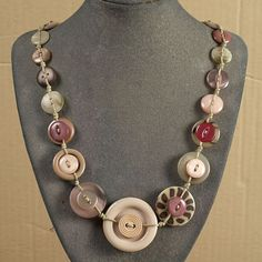 Hey, I found this really awesome Etsy listing at https://www.etsy.com/listing/209702090/button-necklace-champagne-and-rose-with