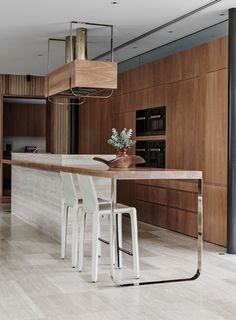 Kitchen island. Raised lip around sink and cabinetry section, and open breakfast bar section. Techne architecture