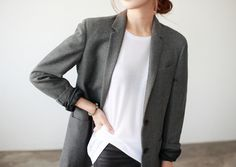 Gray Blazer, White Silk Top, Black Pants Women's Outfit
