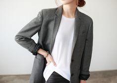 Gray Blazer, White Silk Top, Black Pants Women's Outfit