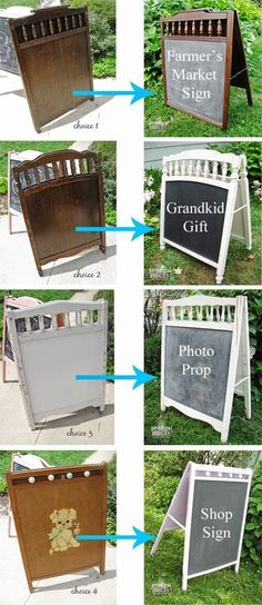 Upcycle your old baby crib into a chalkboard sign