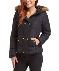 Look at this Krush Black Faux Fur-Trim Hooded Puffer Coat on #zulily today!