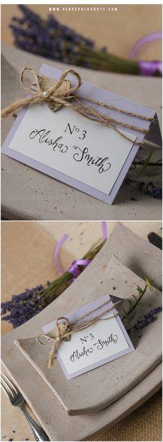 Rustic Lavender Place Card with birch bark heart #lavender #lilac #weddingstationery #placecard #tablecard #weddingideas