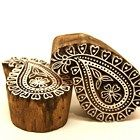Indian Wooden Block Stamp Paisley Design with hearts and FLower Design