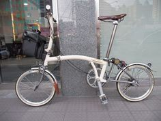 Daniel custom cream Titanium Brompton bicycle   DinoKiddo