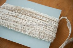 Ivory Eyelet Ruffle  - 3 yards Vintage Fabric Embroidered Scalloped Trim New Old Stcok