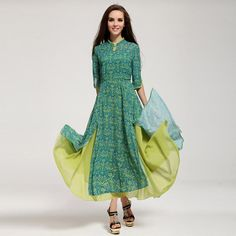 2014 Spring and summer vintage ethnical chiffon butterfly sleeve green slit maxi dress with big swing On sale Plus Size $29.99