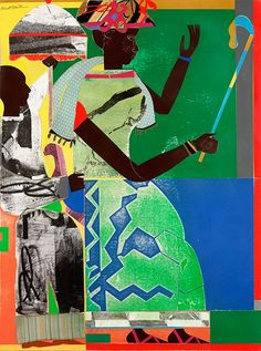 """""""She-ba,"""" 1970, Romare Bearden. Collage on paper, cloth and synthetic polymer paint on composition board."""